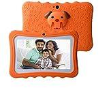 Tablette Enfant Tactile 7 Pouces WiFi Android 8.1 Quad Core 1Go RAM 16Go ROM Bluetooth HD 1024x600, Google Play & Préinstallé Contrôle Parental - Oranger