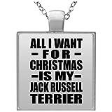 All I Want For Christmas Is My Jack Russell Terrier - Square Necklace, Pendentif Charme Plaqué Argent avec Collier, Cadeau pour Anniversaire, Noël