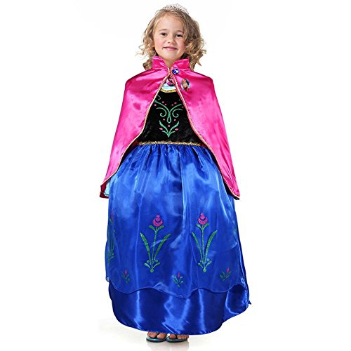 Niñas Frozen Princess Anna Costume Viste a Snow Queen Party Halloween Cosplay Party Outfits with Cloak (7~8T)