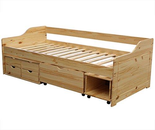 KMH®, Bett aus massivem Pinienholz! (200 x 90 cm / Mit Bettkasten,Rollregal und 4 Schubladen / natur) (#201104)