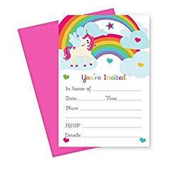 Unicorn Birthday Party Invitations (Fill In) Set of 15 with Envelopes