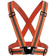 MeOkey Chaleco de seguridad Cinturón de jogging correr de correa reflectante Banda arnés Naranja