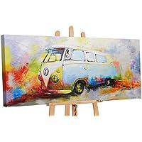 YS-Art | Cuadro Pintado a Mano Nostalgia | Cuadro Moderno acrilico | 115x50 cm | Lienzo Pintado a Mano | Cuadros Dormitories | único | Multicolor