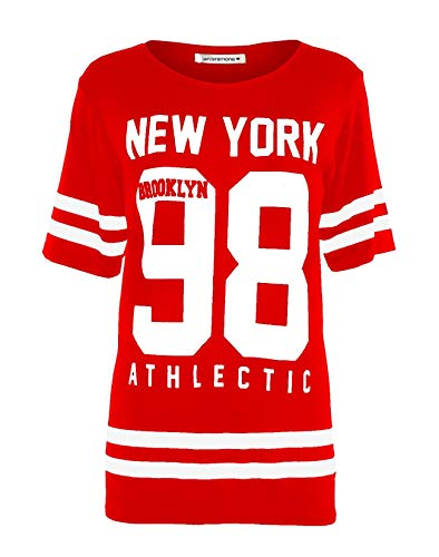 Janisramone Señoras Mujeres Beisbol New York 98 Brooklyn Raya impresión Sobredimensionado Baggy Tapa de la Camiseta