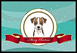 Carolines Treasures BB1512JMAT Jack Russell Terrier Merry Christmas Indoor or Outdoor Mat, 24 x 36, Multicolor