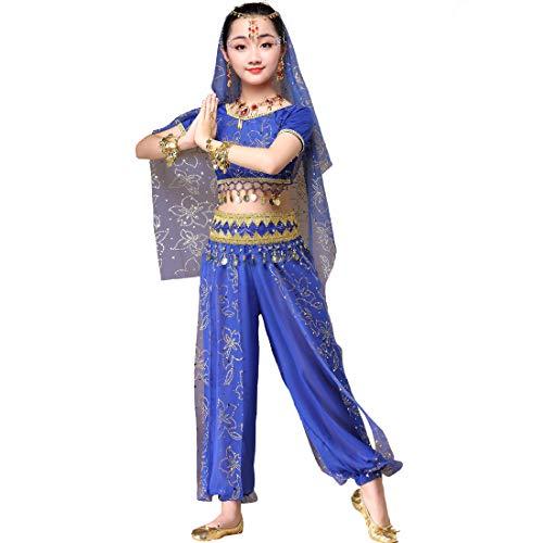 Magogo Mädchen Bauchtanz Kostüm Glänzende Party Kostüm Karneval Outfit, Kinder Arabische Prinzessin Kleidung Cosplay Dancewear (L 120-135cm, Dunkelblau)