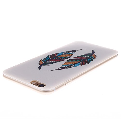 Pour Apple iPhone 6 Plus 5.5 pouce Cas, MCHSHOP Ultra-mince TPU Silicone Cover souple Phone Housse Coque de protection pour iPhone 6 Plus 5.5 pouce - 1 gratuit Touch Pen (Blanc tête de tigre) Plume aztèque tribal
