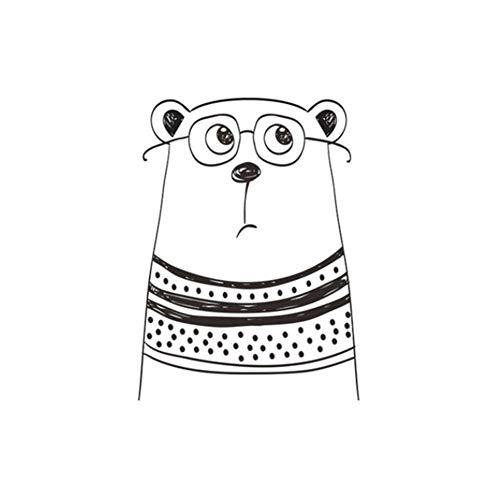 cuffslee Stickers Muro Bambini Adesivi Animali, Decorazione Semplice della Stanza della Pittura in Bianco E Nero del Fumetto Creativo