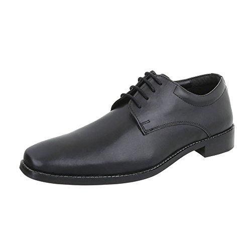 Budapester Stil Leder Herren-Schuhe Oxford Blockabsatz Schnürer Schnürsenkel Ital-Design Business-Schuhe Schwarz, Gr 47, 230408-