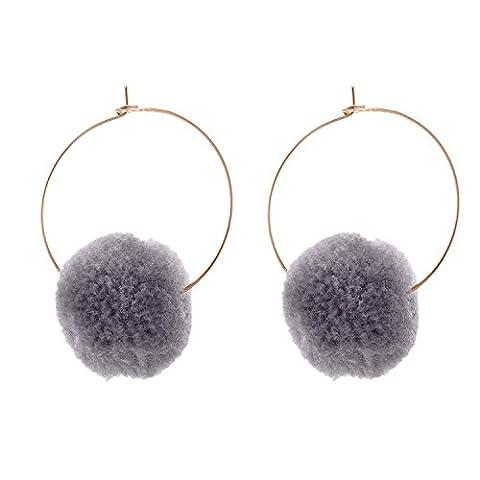 Lureme Boucles d'oreilles à pompons pour dames - Étui léger en peluche avec dentelle Lt gris (er005414-2)