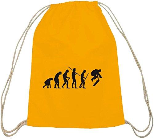 Shirtstreet24, EVOLUTION SKATEBOARD, skaten Skater Baumwoll natur Turnbeutel Rucksack Sport Beutel gelb natur