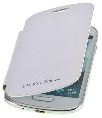 PhoneStar Flip Cover copertina caso per Samsung Galaxy S3 Mini i8200 in bianco