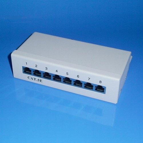 8fach DSL LAN Netzwerk Verteiler Panel zum Einbau / 8 RJ45 Buchse / CAT.5e / Weiss