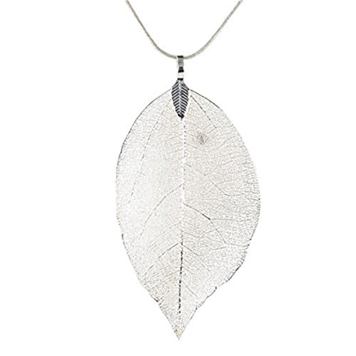ODN Dame Langen Kette 63cm mit Blätter Anhänger Pullover Halskette (Silber)