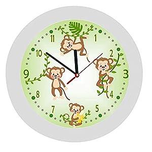 ✿ Kinderwanduhr in 4 Farben ✿ Affen Monkey 2 Dschungel Tiere grün ✿ Wanduhr ✿ KEIN TICKEN ✿ mit/ohne Name
