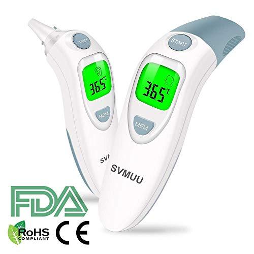 SVMUU Fieberthermometer Stirnthermometer Ohrthermometer, Infrarot Thermometer für Babys, Erwachsene und Objekte,1 Sekunde Messzeit, Speicherfunktion, Hochtemperaturalarm genehmigt (CE) / ROHS/FDA -