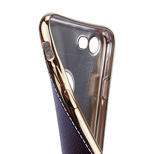 Custodia iPhone 7 Plus,Cover iPhone 7 Plus,Custodia Cover per iPhone 7 Plus, ikasus® Placcatura in Leather Plating pelle sintetica iPhone 7 Plus Custodia Cover [Crystal TPU] [Shock-Absorption] Protett Nero