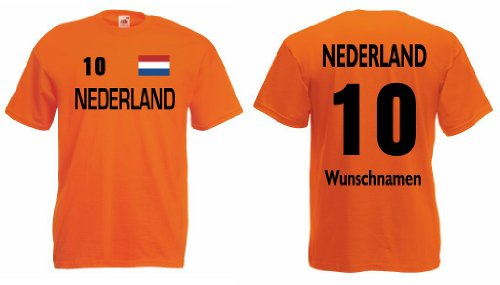 Fruit of the Loom Nederland Herren T-Shirt Trikot mit Wunschname&Nummer|orange XL
