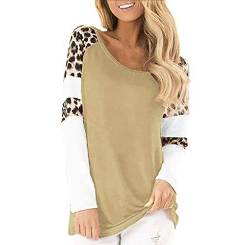 Andouy Damen Mode Leopard Streifen Drucken Sweatshirt Lässige Lange Ärmel Rundhals Oberteile(L(40).Khaki-Leopard)