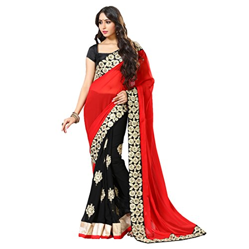 Women'S Black,Red Color Georgette Embroidery, Hand Work Woven Saree