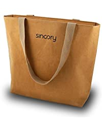 sincory one - Damen-Handtasche - nachhaltig und vegan - Einkaufstasche, Schultertasche, Shopper - ideales Frauen-Accessoire aus Kraft-Papier für Frühling/Sommer 2018