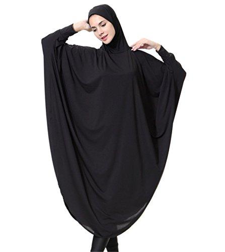 Dreamskull Damen Frauen Hijab Muslime Abaya Dubai Kleider Muslimische Islamische Kleidung Arab Arabisch Indien Türkisch Casual Abendkleid Kaftan A Linie Dress Mit Kopftuch Mehr Farben (M, Schwarz)