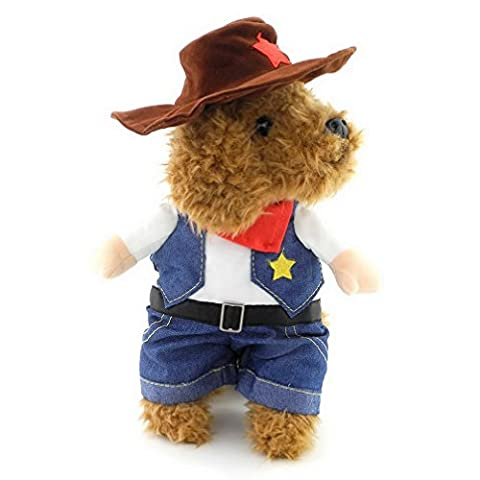 Ranphy Petit Chien Costume Manteau pour animal domestique Chiot Chat de cowboy Denim JumpSuit Vêtements avec
