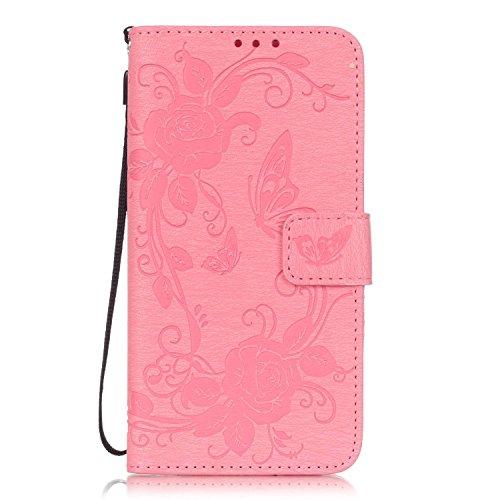 SainCat Coque Etui pour LG G5, LG G5 Coque Dragonne Portefeuille PU Cuir Etui, Coque de Protection en Cuir Folio Housse, SainCat PU Leather Case Wallet Flip Protective Cover Protector, Etui de Protect Fleur de papillon,Rose