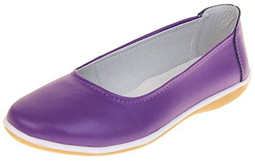 Footwear Studio Damen Leder Geschlossene Ballerinas Schuhe Pflaume EU 37 (Pflaume-leder-schuhe)
