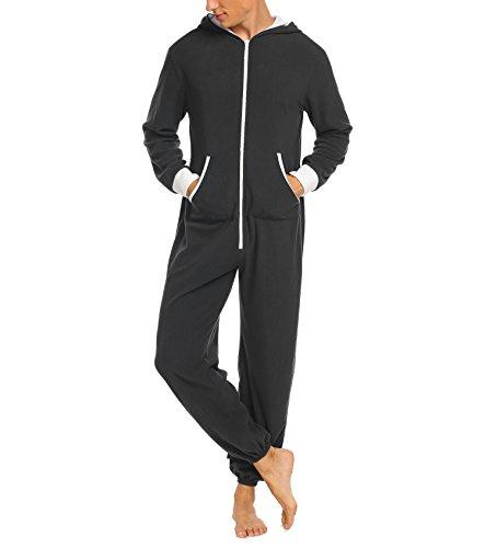 Jumpsuit Herren Schlafanzug Jogger Jogging Anzug Trainingsanzug Overall Einteiler Schlafoverall Langarm Pyjama mit Kapuze Schwarz Grau