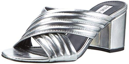 Steve Madden Womens Open Toe Heels (Steve Madden Damen Instant Sandal Offene, Silber (Silver), 39 EU)