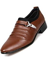 Tela de Lona de Negocios para Hombres/Zapatos de Cuero Artificiales de la PU Zapatos de Vestir Formales de Boda CN Tamaño 45/46/47/48 Colores Blancos Negros clásicos de Brown