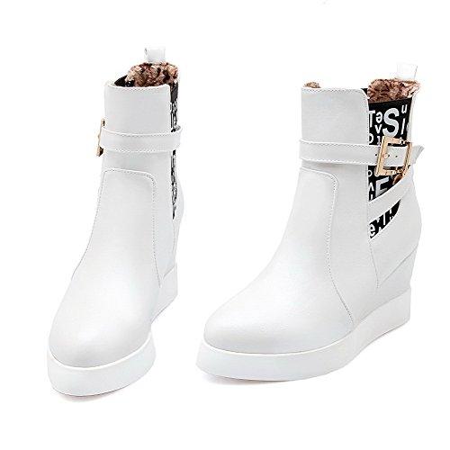 AllhqFashion Damen Ziehen Auf Rund Zehe Hoher Absatz Pu Leder Mitte-Spitze Stiefel Weiß