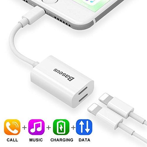 2 in 1 Lightning Adapter Splitter für iPhone 7/7 Plus | Baseus Dual Lightning Kopfhörer Audio Adapter und Ladeadapter | Unterstützt Audiowiedergabe & Laden & Anruf & Datenübertragung | Kompatibel mit iOS 10.3 für Apple iPhone, iPod touch mit Lightning Anschluss (Oberhalb iOS 10 system)