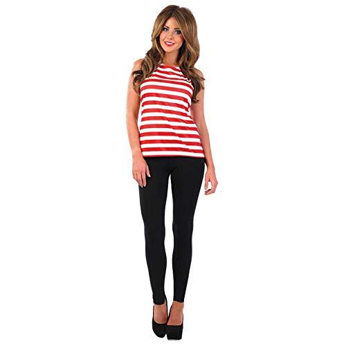 Fun Shack Damen Costume Kostüm, Striped Vest Top, Größe (Waldo Damen Kostüm)