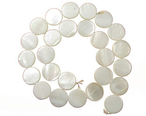 26 Perlmutt Linsen, weiß 1,5 cm, Perlen basteln. Schmuck selbst machen