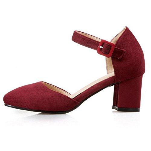 TAOFFEN Damen Sweet Mitte Absatz Fesselriemen Sandalen Blockabsatz Party Schuhe 1024 Wine Rot