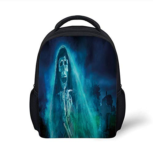 Kids School Backpack Halloween Decorations,Gothic Dark Backdrop with a Dead Ghost Skull Mystical Haunted Horror Theme,Blue Plain Bookbag Travel Daypack