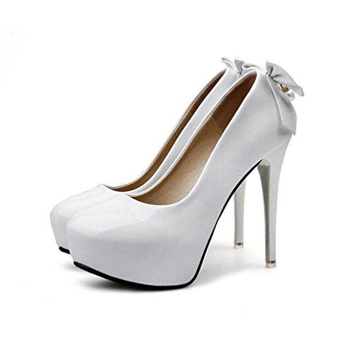 WYWQ Damen Super High Heels Hochzeit Schuhe Kleid Performance Schuhe Company Cocktail Schuhe 2018 Frühjahr neue Lackleder wasserdichte Plattform Weiß Schwarz Pink , 39 , white (Für Verkauf Pumpen Frauen Schuhe Auf)