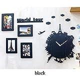 XGLL Wanduhr Mit 4 Bilderrahmen, Stille Holz Dekoration Uhr Für Wohnzimmer Schlafzimmer,Black