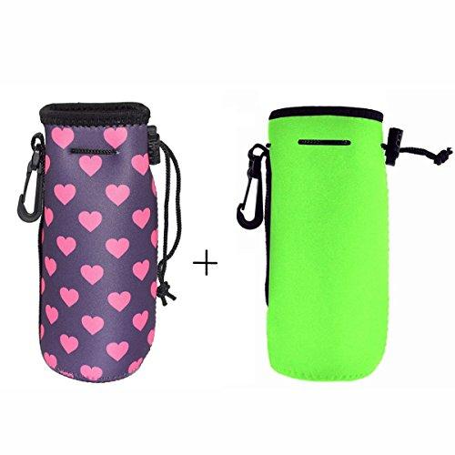 AF-WAN 1Pack (2pcs) Protable Neopren-isolierte Wasser-Getränk-Flaschen-Kühler-Träger-Abdeckungs-Hülsen-Beutel-Beutel-Beutel-Halter-Bügel für Kind-Kind-Frauen MÄNNER-Radfahrer-Spielraum-Radfahren-kletternde Sport (Grün und rosafarbenes Rot) (Sport-flasche Für Frauen)