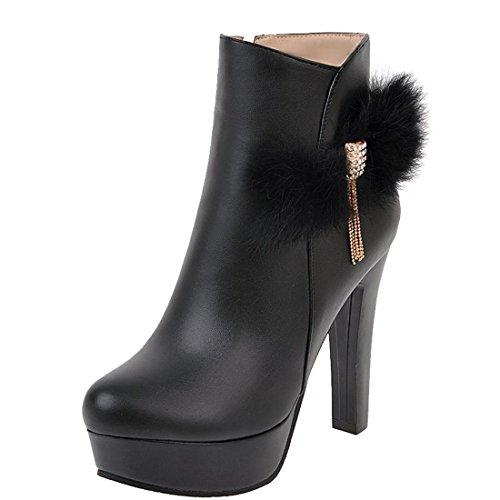 UH Femmes Bottines Chaussures Bout Rond à Talons Haut Bloc avec Plateforme et Fourrure Dentelle de Cheville