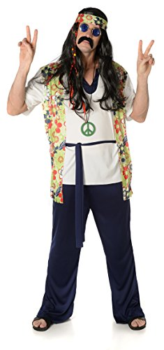 Cool Hippie Guy Costume for Men in three sizes - Top, Trousers, Belt, Headband & Medallion