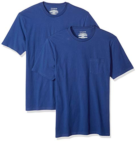 Amazon Essentials 2-Pack Slim-Fit Crew Pocket T-Shirt, Blau Blu, US (EU XL-XXL) -