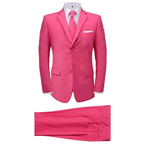 vidaXL 2tlg. Herrenanzug Business Anzug Jackett Krawatte Slim-Fit Hochzeit Gr.46