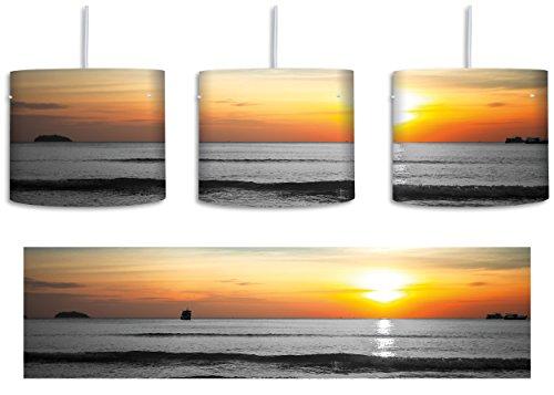 Malibu Beach Sunrise Water Sand Schwarz Weiss Inkl Lampenfassung E27 Lampe Mit Motivdruck