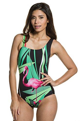 Badeanzug 10 Größe Ein (GINA LAURA Damen bis Größe 3XL   Badeanzug   Body-Forming-Effekt   Soft-Cups, Futter, Unterbrustband   Tropical-Muster   schwarz 48 710972 10-48)