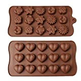 Yuanzi Moule à Chocolat, Chocolat Forme Silicone Moule pour Glaçon Patisserie Antiadhésif pour Décoration Gâteaux, Coeur Fleur (2 Pack)