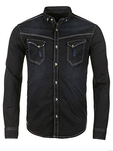 WOTEGA Herren Jeanshemd Western Shirt Toby Jeans-Hemd Blau (Dark Sapphire 194020)
