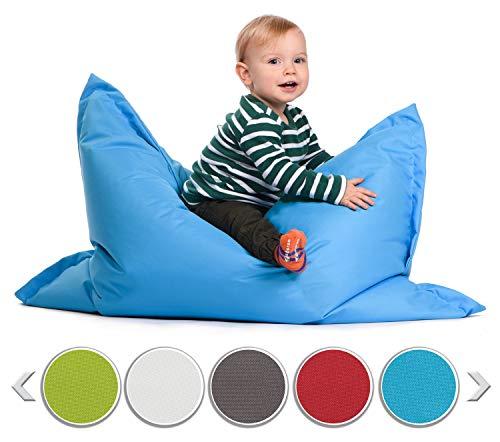 sunnypillow S Sitzsack, Outdoor & Indoor 100 x 70 cm mit 60L Styropor Füllung Sessel für Kinder & Erwachsene Sitzkissen Sofa Beanbag viele Farben und Größen zur Auswahl Blau